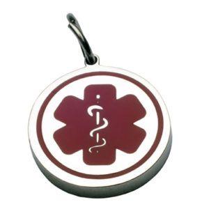 Medalla Placa  ID Símbolo Medico En Acero Y Rojo 26*26 Mm