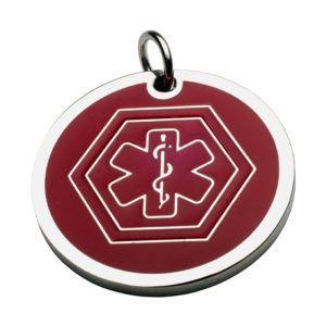 Medalla Placa ID  Símbolo Medico Rojo 26*26 Mm