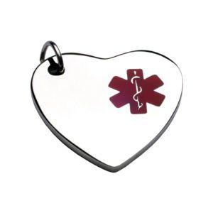 Medalla Placa  ID En Acero  Corazón Símbolo Medico Rojo 26*28 Mm