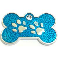 ID huellitas para mascota color azul claro 15*26 mm