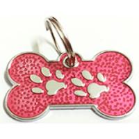 ID huellitas para mascota color rosado 15*26 mm
