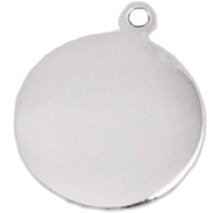 ID Circular Plateado En Aluminio Para Mascota 25*32 Mm