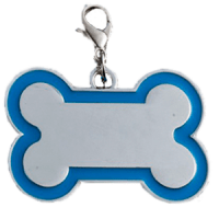 Id hueso para mascota color plateado  con borde color  azul claro 30*45 mm