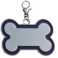 Id hueso para mascota color plateado  con borde color  azul oscuro 30*45 mm