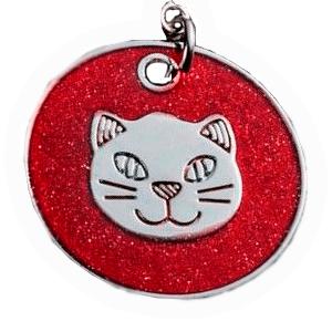 ID Circular Color Rosa Rojiso Con Cabeza De Gato  25 Mm