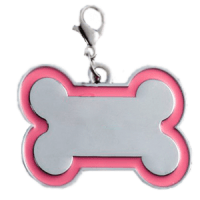 Id hueso para mascota color plateado  con borde color  rosado 30*45 mm