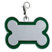 Id hueso para mascota color plateado  con borde color  verde 30*45 mm