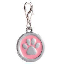 Placa Identificadora Para Mascotas Redonda Con Huella Color Rosa Claro 25*25mm
