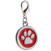 Placa Identificadora Para Mascotas Redonda Con Huella Color Rojo 25*25mm
