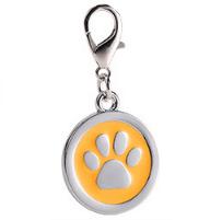 Placa Identificadora Para Mascotas Redonda Con Huella Color Amarillo 25*25mm