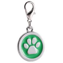 Placa Identificadora Para Mascotas Redonda Con Huella Color Verde 25*25mm