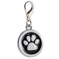 Placa Identificadora Para Mascotas Redonda Con Huella Color Negro 25*25mm