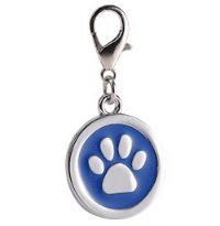 Placa Identificadora Para Mascotas Redonda Con Huella Color Azul 25*25mm