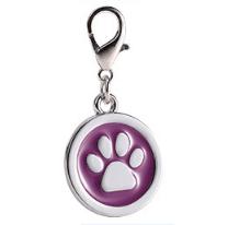 Placa Identificadora Para Mascotas Redonda Con Huella Color Morado 25*25mm