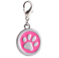 Placa Identificadora Para Mascotas Redonda Con Huella Color Rosa 25*25mm