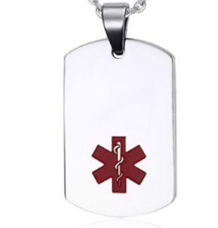 Medalla Colgante Dog Tag ID Acero Color Plata Símbolo Medico Rojo 22*40 Mm