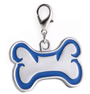 Id Hueso Para Mascota Color Plateado Con Borde Color Azul 46*29mm