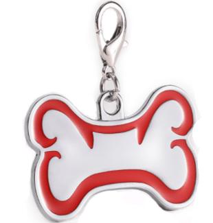 Id Hueso Para Mascota Color Plateado Con Borde Color Rojo 46*29mm