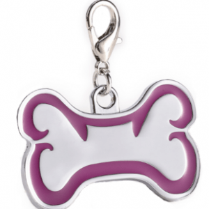 Id Hueso Para Mascota Color Plateado Con Borde Color Morado 46*29mm