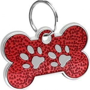 ID Huellitas Para Mascota Color Rojo 20*30mm
